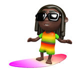 3d Rastafarian surfer Stock Photos