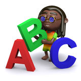 3d Rastafarian teaches the alphabet Royalty Free Stock Image