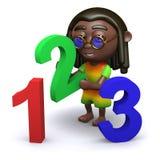 3d Rastafarian teaches math. 3d render of a rastafarian with numbers Stock Photos