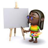 3d Rastafarian is about to do a painting Royalty Free Stock Photos