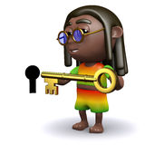 3d Rastafarian unlocks the door Stock Photography