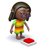 3d Rastafarian wants to press the red button Stock Images