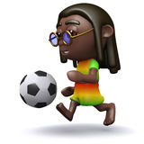 3d Rastfarian kicks a football Stock Photography