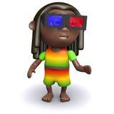 3d Rastfarian wearing 3d glasses Royalty Free Stock Images