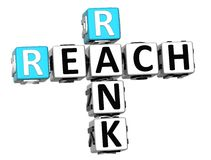 3D Reach Rank Crossword. On white background Stock Photography