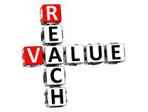 3D Reach Value Crossword Royalty Free Stock Image