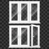 3d realístico detalhou o grupo plástico branco da janela do PVC Vetor ilustração stock