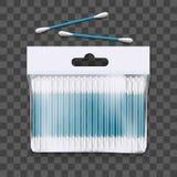 3d realístico detalhou o pacote dos botões do algodão Vetor ilustração royalty free