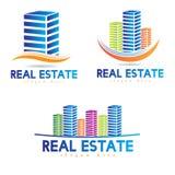 3D Real estate logo. Real estate logos of 3D buildings Royalty Free Stock Photo