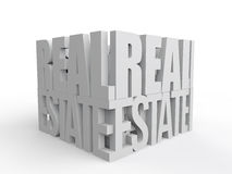 3d real estate text arranged to form a cube Royalty Free Stock Photos