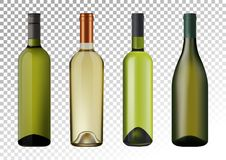 Vector illustration. Set of white wine bottles in photorealistic style. A realistic objects on a transparent background. 3D Realism. Vector illustration. Set of Royalty Free Stock Photos