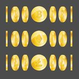 3d realista detalló el sistema de Bitcoin Lightcoin Etherium Imagen de archivo
