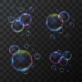 3d realista detalló la burbuja de jabón fijada en un fondo transparente Vector stock de ilustración