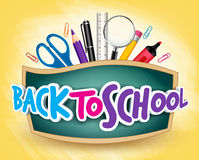 3D Realistic Back to School Title Poster Design. In a Blackboard with School Items in a Background. Editable Vector Illustration