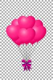 Pink balloons with ribbon flying for party and celebrations. 3d realistic bunch of pink birthday or valentines balloons with ribbon flying for party and Stock Photography