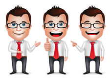 3D Realistic Businessman Cartoon Character with Different Pose Stock Images
