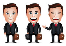 3D Realistic Businessman Cartoon Character with Different Pose. Holding Briefcase for Traveling  in White Background. Set of Vector Illustration Stock Photography