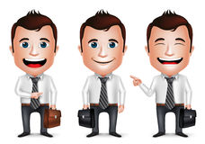3D Realistic Businessman Cartoon Character with Different Pose. Holding Briefcase for Traveling  in White Background. Set of Vector Illustration Royalty Free Stock Images