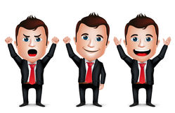 3D Realistic Businessman Cartoon Character with Different Pose. And Raising Hands Up Wearing Black Suit  in White Background. Set of Vector Illustration Royalty Free Stock Photo