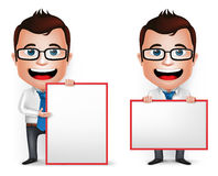 3D Realistic Businessman Cartoon Character Teaching or Holding. Blank White Board  in White Background. Set of Vector Illustration Stock Photos