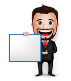 3D Realistic Businessman Cartoon Character Teaching or Holding. 3D Realistic Businessman Cartoon Character Holding and Showing Blank White Board  in White Stock Photo