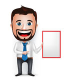 3D Realistic Businessman Cartoon Character Teaching or Holding. 3D Realistic Businessman Cartoon Character Teaching or Showing Blank White Board  in White Stock Image