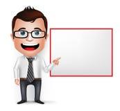 3D Realistic Businessman Cartoon Character Teaching or Holding. 3D Realistic Businessman Cartoon Character Teaching or Showing Blank White Board  in White Stock Photos