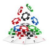 3d realistic chips falling on heap with cards. 3d realistic chips falling on stack or heap of realistic gambling tokens and playing cards. Aces of clubs, hearts royalty free illustration