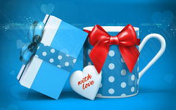 3d realistic coffee cup and gift box with happy valentine's day greetings Stock Photos
