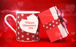 3d realistic coffee cup and gift box with happy valentine's day greetings Stock Images