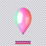 3d Realistic Colorful Balloon. Holiday illustration of flying glossy balloon. Vector Illustration. 3d Realistic Colorful Balloon. Holiday illustration of flying Royalty Free Stock Photo