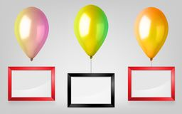 3d Realistic Colorful Balloon Set. Holiday illustration of flying glossy balloon with red and black photo frame. Vector Illustration Stock Photography