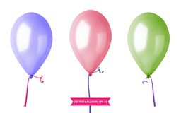 3d Realistic Colorful Balloon Set. Holiday illustration of flying glossy balloon set. Vector Illustration. 3d Realistic Colorful Balloon Set. Holiday Royalty Free Stock Photography