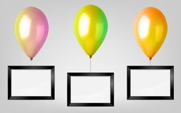 3d Realistic Colorful Balloon Set. Holiday illustration of flying glossy balloon with black photo frame. 3d Realistic Colorful Balloon Set. Holiday illustration Stock Photo