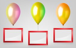3d Realistic Colorful Balloon Set. Holiday illustration of flying glossy balloon with red photo frame. Vector Illustration Royalty Free Stock Photo