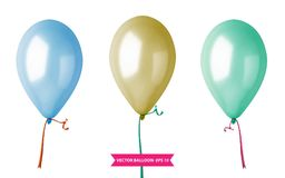 3d Realistic Colorful Balloon Set. Holiday illustration of flying glossy balloon set. Vector Illustration. 3d Realistic Colorful Balloon Set. Holiday Stock Images