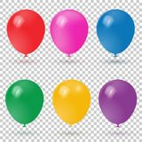 3d Realistic Colorful Balloons collection. Holiday illustration of flying glossy balloons. Vector Illustration Stock Image
