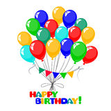 3d Realistic Colorful Bunch of Birthday Balloons Stock Photos