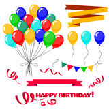 3d Realistic Colorful Bunch of Birthday Balloons Stock Photo