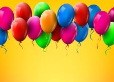 3d Realistic Colorful Bunch of Birthday Balloons Flying for Party and Celebrations Royalty Free Stock Photos
