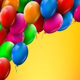 3d Realistic Colorful Bunch of Birthday Balloons Flying for Party and Celebrations Stock Photography
