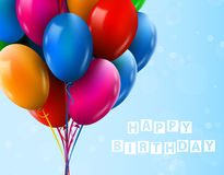 3d Realistic Colorful Bunch of Birthday Balloons Flying for Party and Celebrations Stock Images