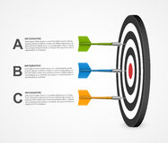 3d realistic concept infographic template target with darts. Vector design. Stock Images