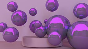 3d realistic corner wall abstract scene with podium and balls, for product presentations. 3d realistic corner wall abstract scene with podium and balls, for Stock Photography