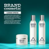 3D realistic cosmetic bottle ads template. Cosmetic brand advertising concept design with abstract glowing waves.  Royalty Free Stock Photography