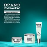 3D realistic cosmetic bottle ads template. Cosmetic brand advertising concept design with abstract glowing waves.  Royalty Free Stock Images