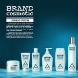 3D realistic cosmetic bottle ads template. Cosmetic brand advertising concept design with abstract glowing waves.  Stock Photography
