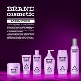 3D realistic cosmetic bottle ads template. Cosmetic brand advertising concept design with abstract glowing waves Stock Photo