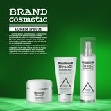 3D realistic cosmetic bottle ads template. Cosmetic brand advertising concept design with abstract glowing waves.  Stock Photo