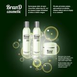 3D realistic cosmetic bottle ads template. Cosmetic brand advertising concept design with bubbles and sparkles.  Royalty Free Stock Photography